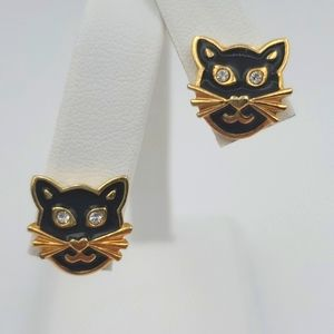 Avon Black Cat Earrings